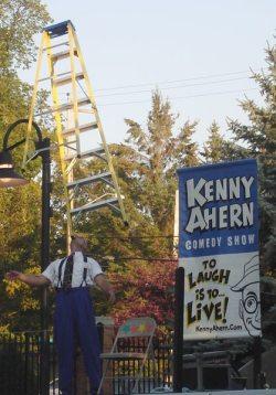 Kenny Ahern balances a ladder
